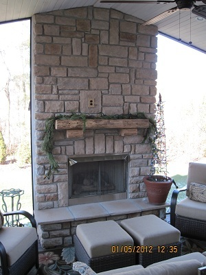 Cultured Stone Outdoor Fireplace
